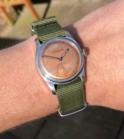 vintage military style hernor watch 1950's serviced