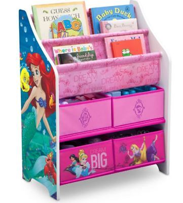 - Disney Princess Girls Bookcase Toy Box Storage Organizer Children Kids Gift New