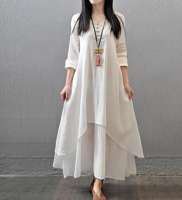 Details about Womens Loose Long Sleeve Linen Dress Kaftan Soild Long Maxi  Dresses Plus Size