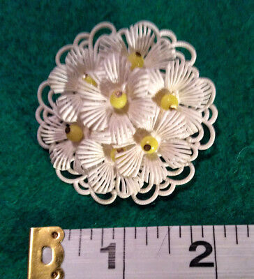 VINTAGE FLOWER PIN SIGNED GERMANY FLEXIBLE WHITE W YELLOW BEADS
