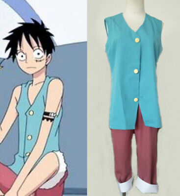 One Piece Monkey D Luffy Impel Down Arc Cosplay Kostüm costume blau blue ()