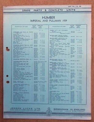Humber Imperial & Pullman models 1939   Lucas Parts List 395