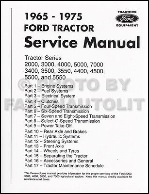 1965-1975 Ford Tractor 2000-7000 Shop Manual Repair Service Book