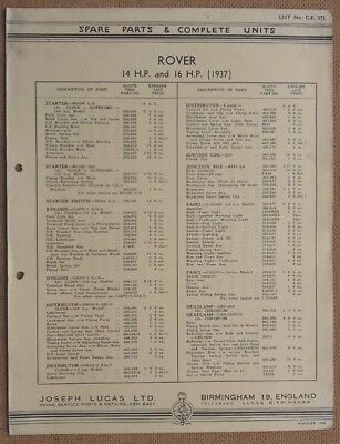 Rover 14hp & 16hp model 1937  Lucas Parts List 272