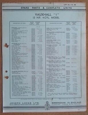 "Vauxhall  ""I"" 12hp 4 cyl model  1938/39?    Lucas Parts List 386"