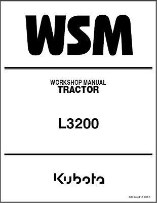 Kubota L3200 Tractor Wsm Service Workshop Manual Cd -- English German L 3200