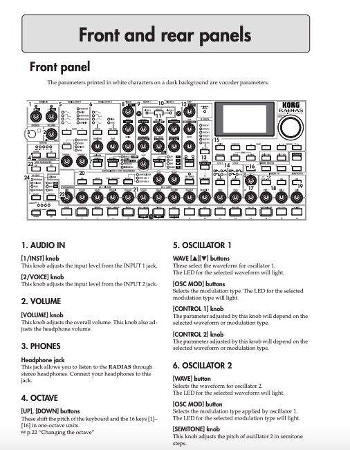 Korg Radias Synthesizer Vocoder USER S MANUAL - $19.95