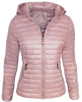 Giubbino donna rosa giacca giubbotto con cappuccio piumino 100 grammi bomber zip