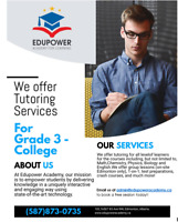 Quality tutoring services! Contact us today for a free lesson!!
