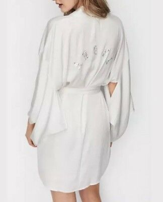 Victoria's Secret ANGEL Kimono Robe Crystal Bling Off White Bride M/L NEW