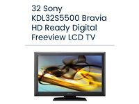 """Sony Bravia 32"""" LCD TV HD MODEL KDL32S55000 with Freeview"""