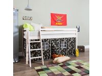 Children's mid sleeper single bed with camo tent curtains comes with mattress