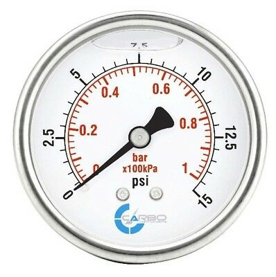 2-12 Pressure Gauge Stainless Steel Case Liquid Filled Back Mnt 0-15 Psi