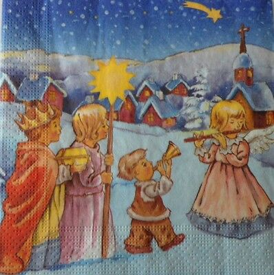 4 x Single Paper Napkins Christmas Winter Children Night Decoupage and Craft 84