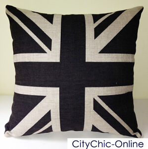 45cm-x-45cm-GDS-Retro-Vintage-Black-Union-Jack-British-Flag-Linen-Cushion-Cover