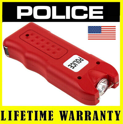 Police Stun Gun 628 With Led Flashlight And Siren Alarm - Rechargeable Red
