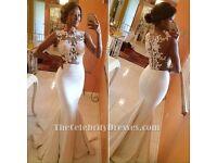 Ivory Satin Laced Mermaid Wedding/Prom Dress