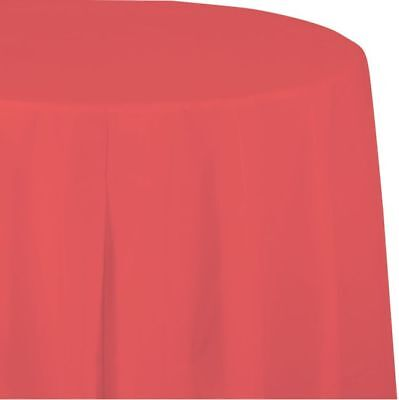Coral Pink Paper Napkins (Coral 2/Ply Paper-Poly Round Tablecloth 82