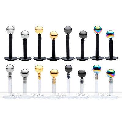 Bio Flex 5/8pc 16G Acrylic Bar Steel Ball Monroe Lip Labret Ring Body PiercingNJ