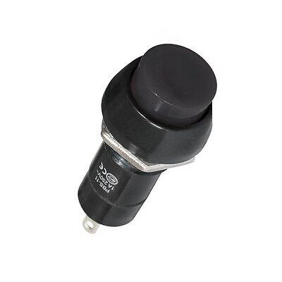 Drucktaster Schwarz 1-polig 2 Kontakte Schließer 1A Rund 12mm Lötbar 5898