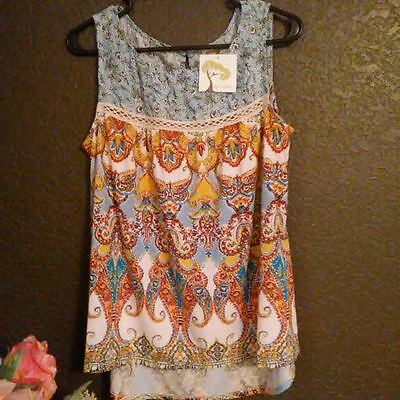Anthropologie Fig And Flower Top S  Nwt  Multi Color Print  Blue  Sleeveless