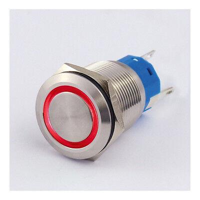 Druckschalter Edelstahl IP67 19mm LED Ring Rot Schließer Öffner 5A Löten 8312