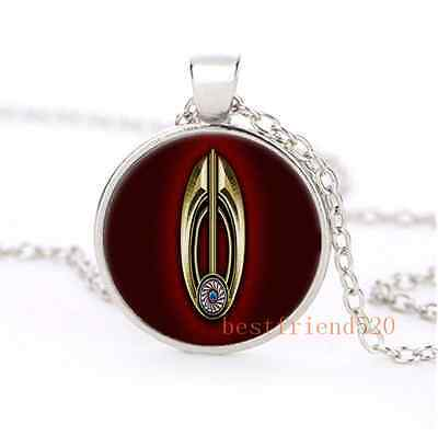 Star Trek Bajor Cabochon Glass Silver Plating Charm Necklace Jewelry