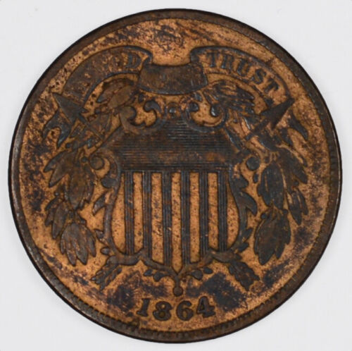 1864 Two Cent Copper Coin BU Details 2C - Uncirculated Details