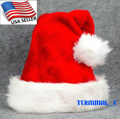 Christmas Hat Cap Party Santa Claus Red Plush Xmas Headgear Costume For Adults - Christmas Party Costumes For Adults