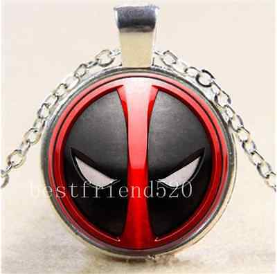 Black And Red Deadpool Cabochon Glass Tibet Silver Chain Pendant Necklace