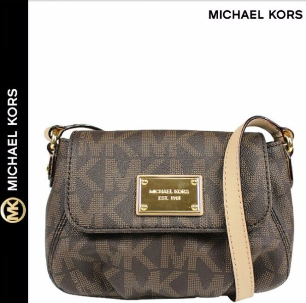 52ae8b3343e0 MICHAEL Michael KORS JET SET ITEM SMALL FLAP CROSS BODY BAG IN MK SIGNATURE