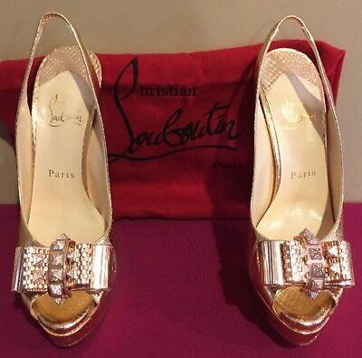 Christian Louboutin METAL NODO GOLD Leather Spike Slingback Heel 37.5   ** $2400