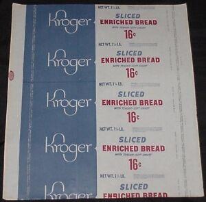 Vintage Unused Kroger Sliced Enriched Bread Wrapper Priced at 16 Cents Age?