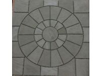 2.25x2.25m Charcoal Patio Paving Circle Feature Kit Square