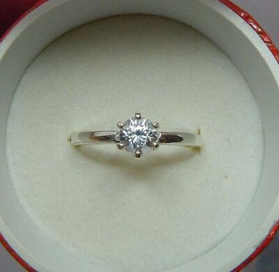 Genuine BRILLIANT ROUND CUT WHITE ZIRCON solitaire ring diamond-shine 1/2ctw 5mm Ctw Round Cut Diamond Solitaire