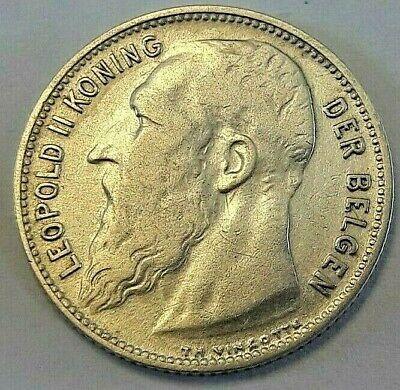 1 Frank 1904 Vlaams LEOPOLD II Belgïe Belgique Belgium KM# 57