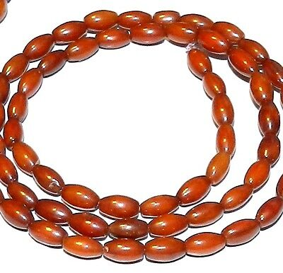 CRL147 Brown Bamboo Coral Small 6mm Tapered Oval Rice Tube Beads 16