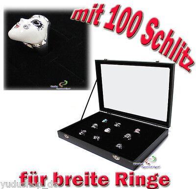 Schaukasten Schmuckkaste Glasdeckel mit 100 Schlitze für Breite Ringe schwarz
