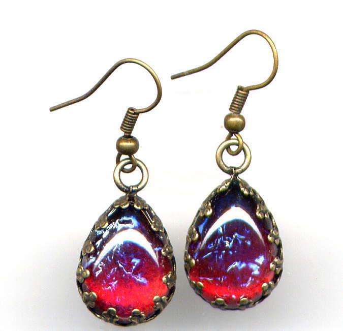 ❤SALE DRAGONS BREATH Mexican Fire Opal crystal Earrings *Antique Brass Czech