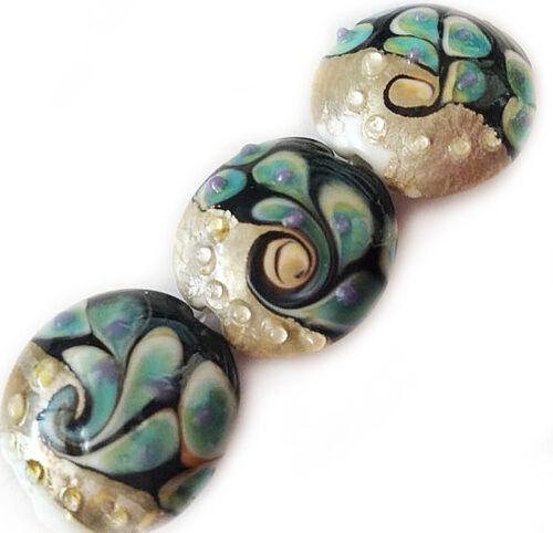 Handmade Lampwork Glass Lentil Beads Peacock Black 19mm 4 beads (#a488)