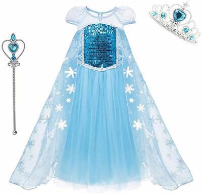 Cinderella Mädchen Party Crown Kostüm Kostüm Königin Prinzessin Pailletten (Blaue Pailletten Prinzessin Kostüm)