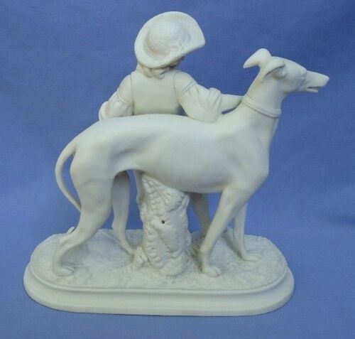 """antique Copeland Greyhound dog & boy Parian Ware 7"""" marked"""