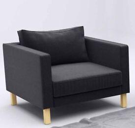 Ikea Karlstad Marl Grey Coloured Armchair