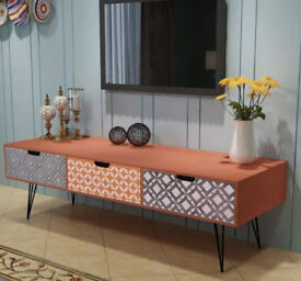 RETRO TV Cabinet on legs with 3 Drawers 120x40x36 cm Brown