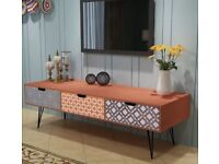 RETRO TV Cabinet with hairpin metal legs, 3 Drawers 120x40x36cm Brown - As new! BETHNAL GREEN E2