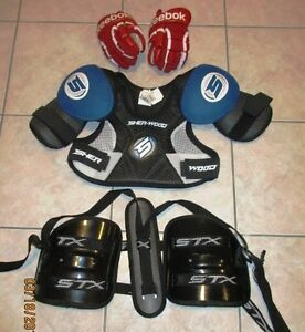 Youth lacrosse Shoulder/Elbow Pads, Gloves, Rib/Kidney Protector