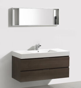 "VENETO 47"" WALL MOUNT VANITY - WALNUT"