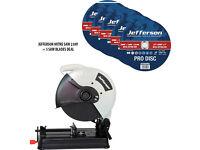 "Jefferson 14"" Metal Cut Off Mitre Saw 230v + 5x 14"" Metal Cutting Abrasive Disc 25.4mm Bore"