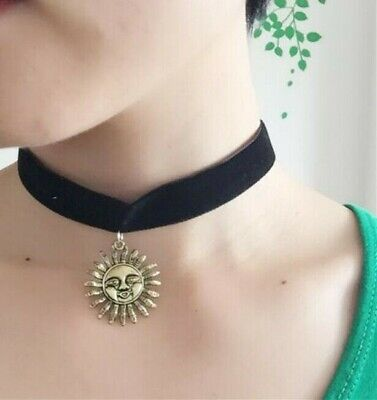 Celestial Sun Jewelry - Smiling Sun with Face Choker Charm, Cute Boho Celestial Witchy Punk Goth Jewelry