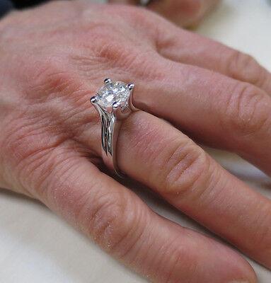 1.54 ct Round brilliant Diamond Solitaire 14k White Gold Ring GIA report K VS2 4